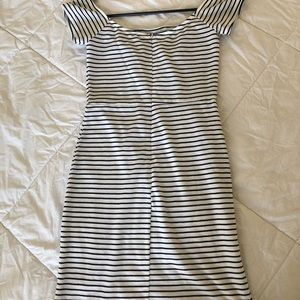 Off the shoulder, black and white striped dress!